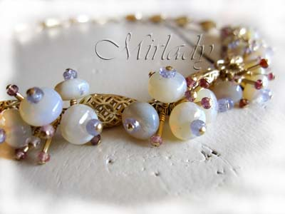 With Love... Necklace from Opals, Tanzanite, Spinel, vermeil and 14, goldfilled findings